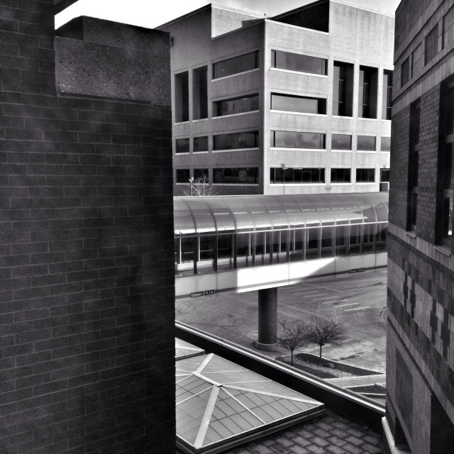 """""""Architectural scene from a window (b/w contrast)."""" stock image"""