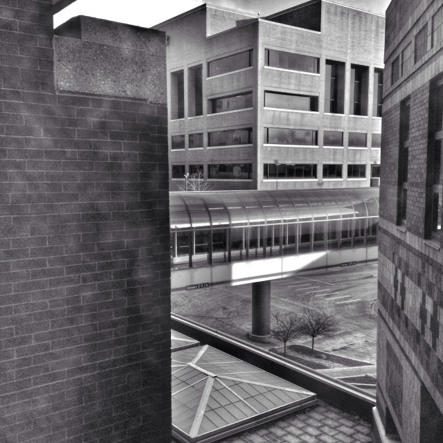"""""""Architectural scene from a window (b/w)."""" stock image"""