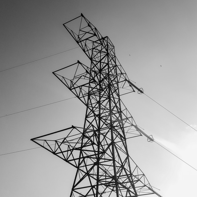 """Birds Over Pylon"" stock image"