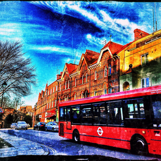 """""""Bus in transit, Harrow-on-the-hill, North West London, England, United Kingdom, Europe"""" stock image"""