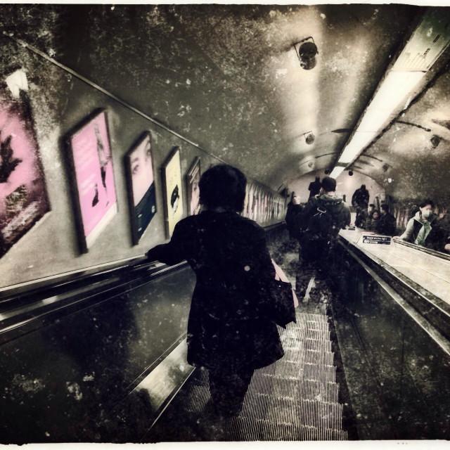 """Tube escalators, Earl's Court station, Royal Borough of Kensington and Chelsea, Central London, United Kingdom, Europe"" stock image"