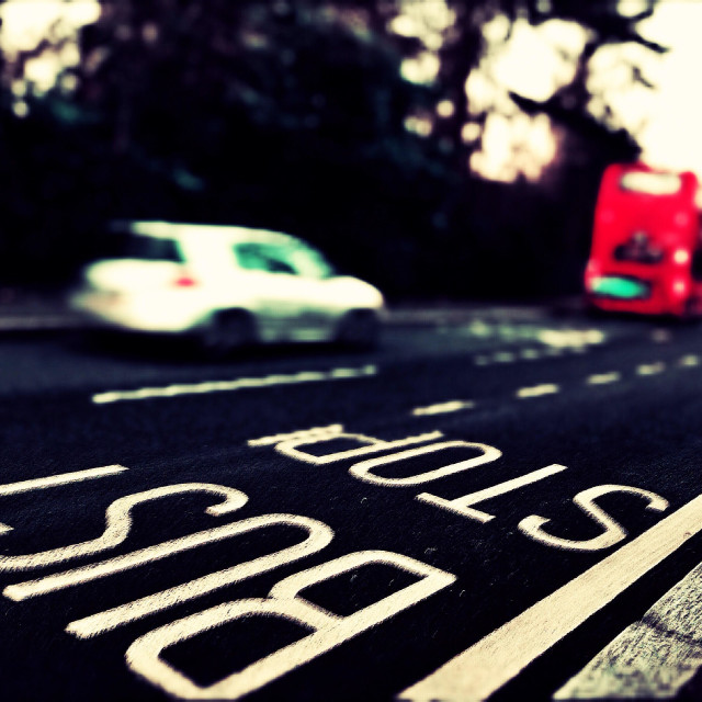 """""""Bus stop, Harrow-on-the-Hill, North West London, England, United Kingdom, Europe"""" stock image"""