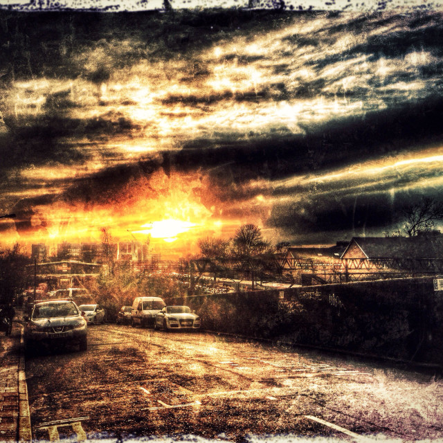 """""""Sunset as seen from Kilburn High Road, North West London, England, United Kingdom, Europe"""" stock image"""