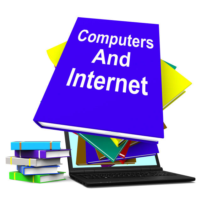 """""""Computers And Internet Book Stack Laptop Shows Web Research"""" stock image"""