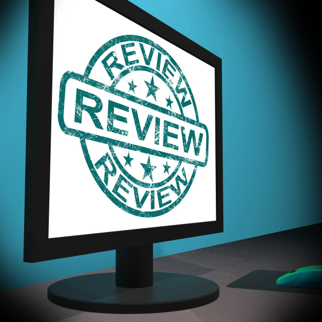 """Review Screen Means Examine Reviewing Or Reassess"" stock image"