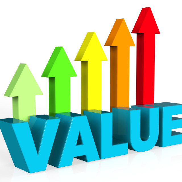 """Increase Value Means Up Worth And Valuable"" stock image"