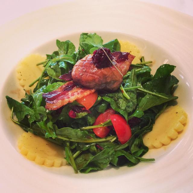"""Baby Arugula Salad with Foie Gras"" stock image"