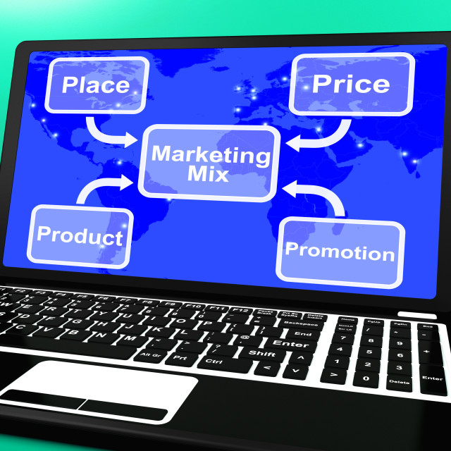"""Marketing Mix On Laptop With Price Product And Promotion"" stock image"