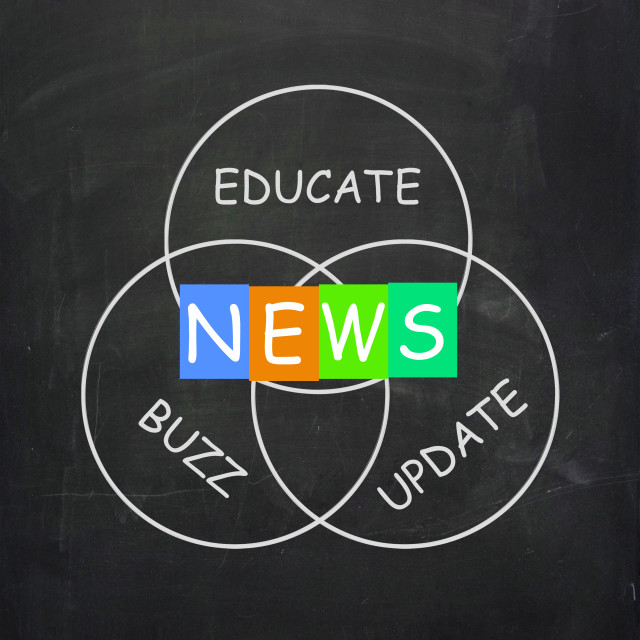 """Communication Words are News Update Buzz and Educate"" stock image"