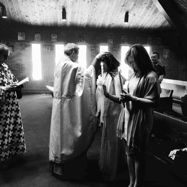 """Praying in Church ( Balkan Way)"" stock image"