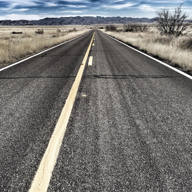 """""""Long lonely two lane highways"""" stock image"""