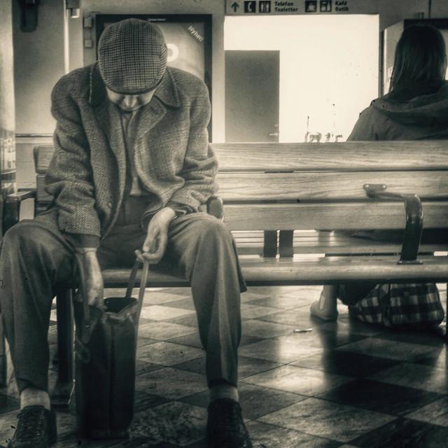 """Old man at trainstation"" stock image"