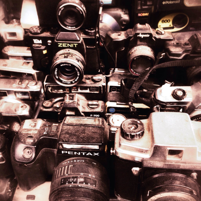 """""""Old cameras for sale in a souk, Marrakech, Morocco."""" stock image"""