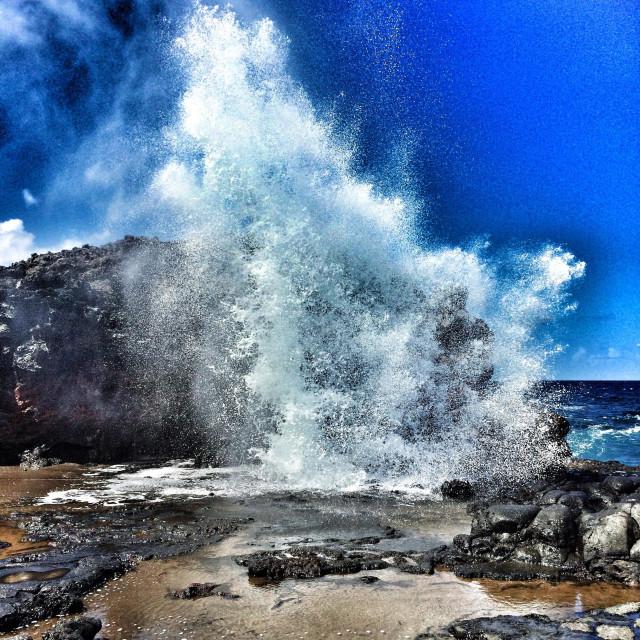 """""""Maui's Nakalele blowhole eruption."""" stock image"""