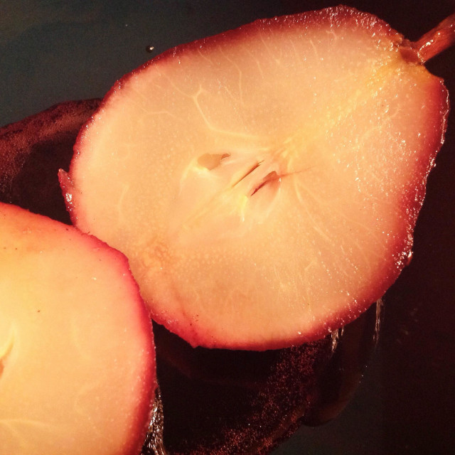 """""""Pears Poached in red wine"""" stock image"""