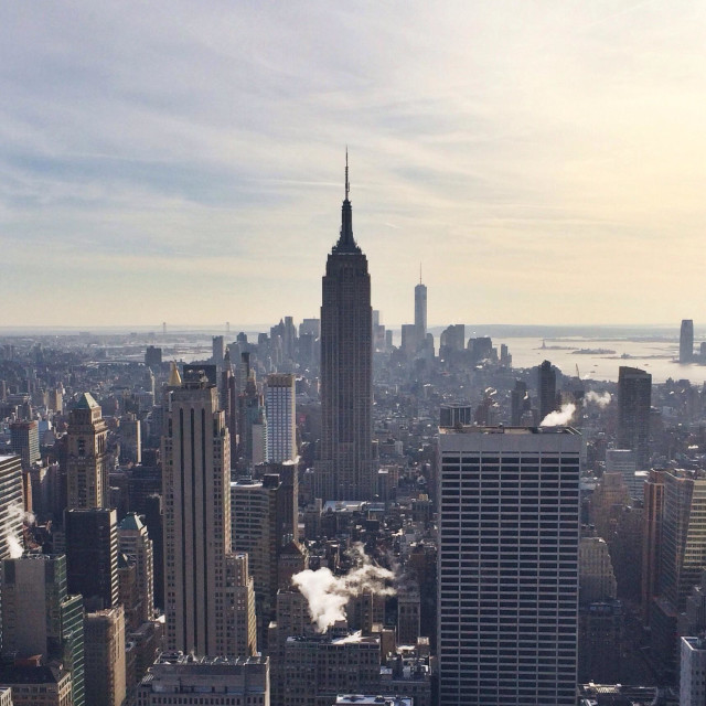 """""""The view of New York from Top of the Rock."""" stock image"""