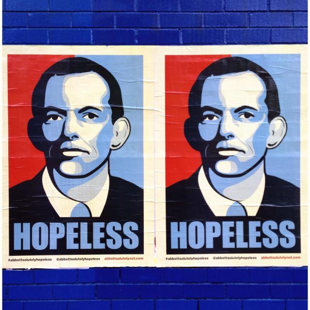 """Tony Abbott in Obama style Hopeless poster, Melbourne"" stock image"