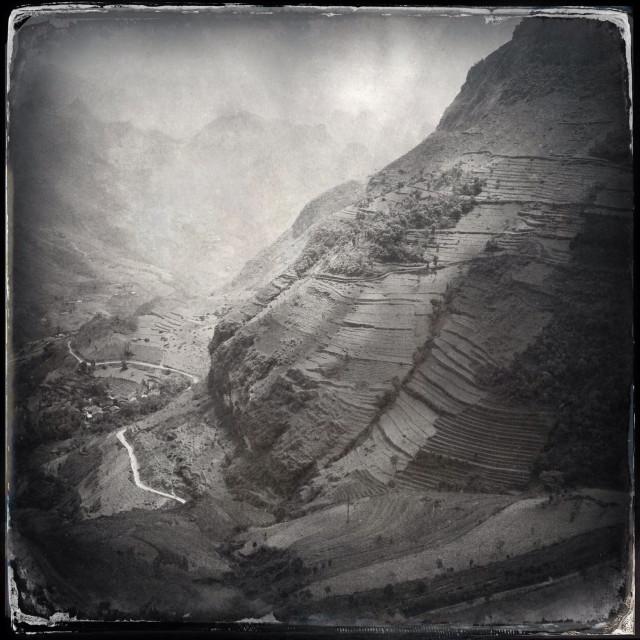 """Canyon marking the Chinese border near the Ma Pi Leng pass, near Dong van, Ha Giang, north east Vietnam"" stock image"