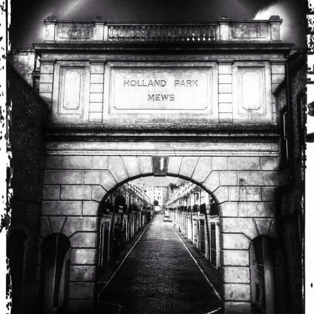 """Entrance to Holland Park mews, Royal Borough of Kensington and Chelsea, West London, England, United Kingdom, Europe"" stock image"