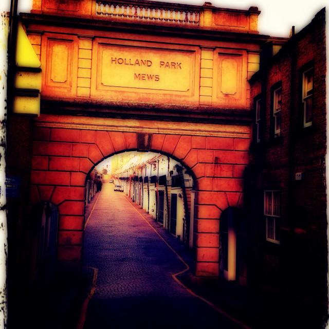 """Entrance to Holland Park mews, Royal Borough of Kensington & Chelsea, West London, England, United Kingdom, Europe"" stock image"