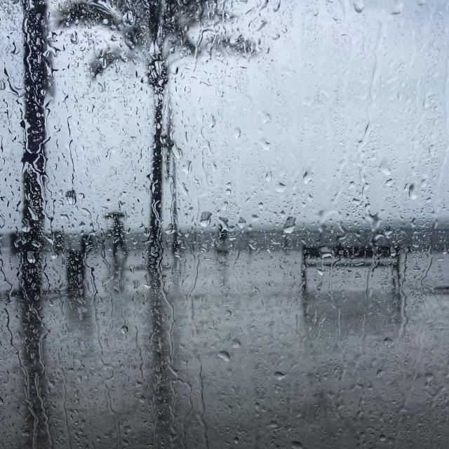 """Man carrying a umbrella under the rain walking the promenade"" stock image"