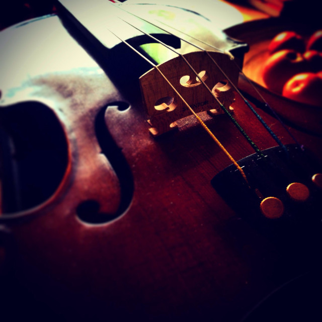 """Arty view of a violin"" stock image"