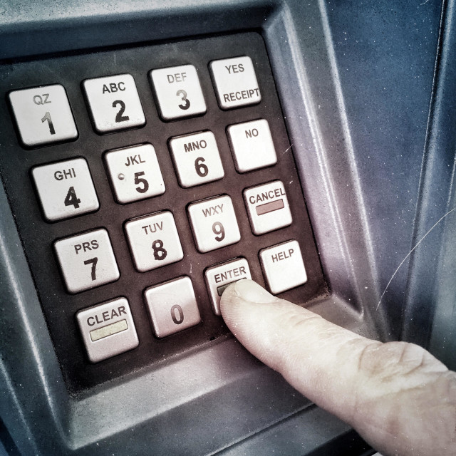 """Number Keypad With Finger Pressing, Selecting The Enter Key For A Transaction"" stock image"