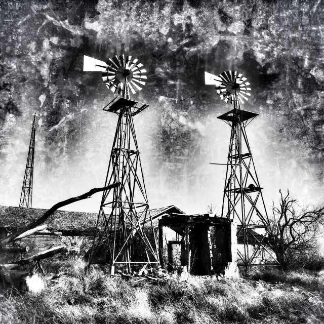 """Double windmill home"" stock image"