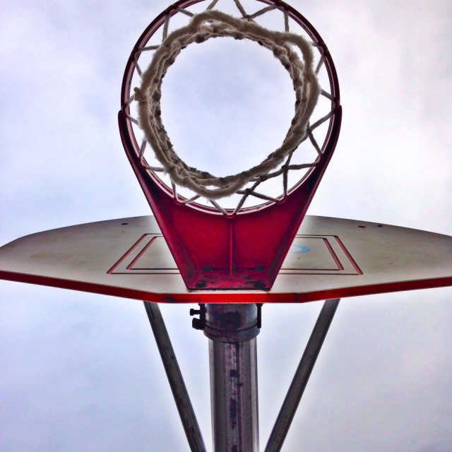 """""""Basketball hoop from underneath"""" stock image"""