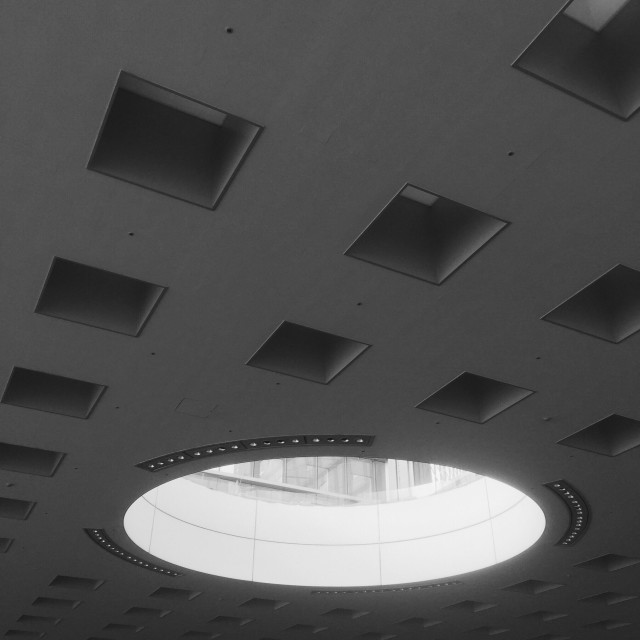 """Skylight ceiling interior of Solid Square building in Kawasaki City, Kanagawa Prefecture, Japan."" stock image"