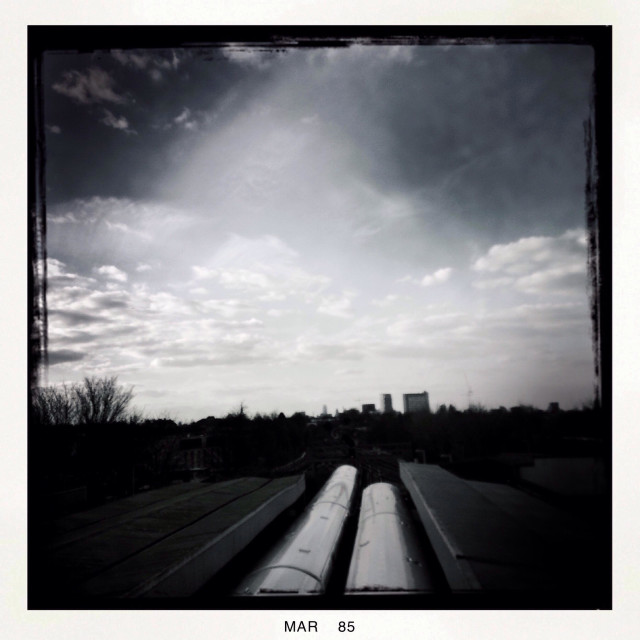 """""""The city seen from hither green train station"""" stock image"""
