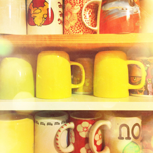 """""""Cups in cupboard"""" stock image"""
