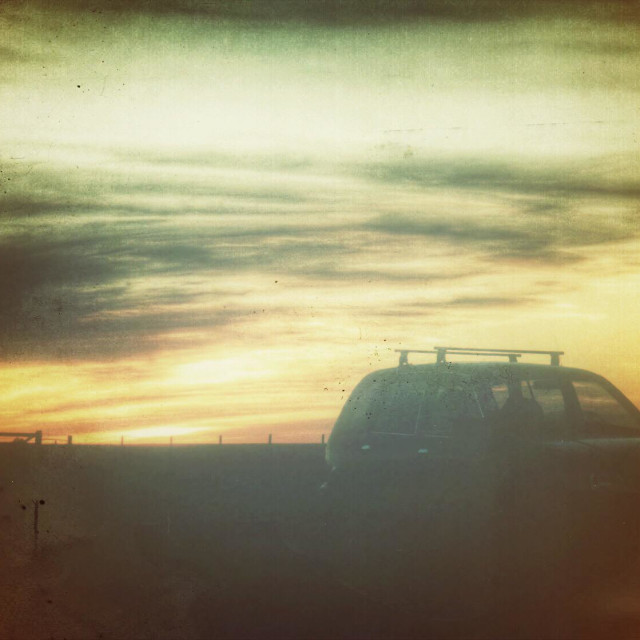 """""""Sunset with my suv"""" stock image"""
