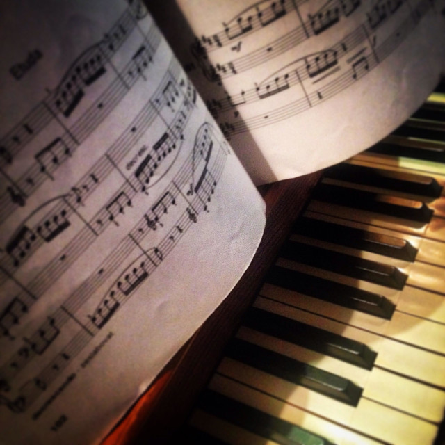 """""""Detail of piano keyboard with score"""" stock image"""