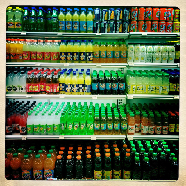 """""""Soft drinks in a supermarket"""" stock image"""