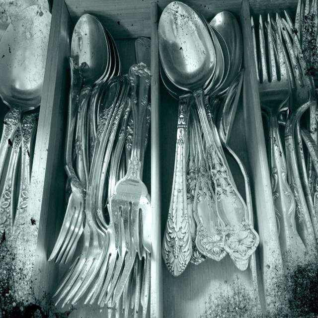 """Silver Plate silverware in tray"" stock image"