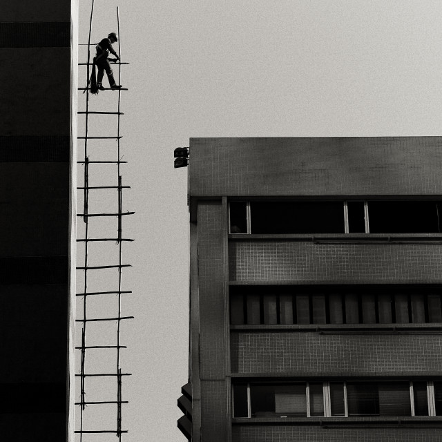 """Working at height in Hong Kong"" stock image"
