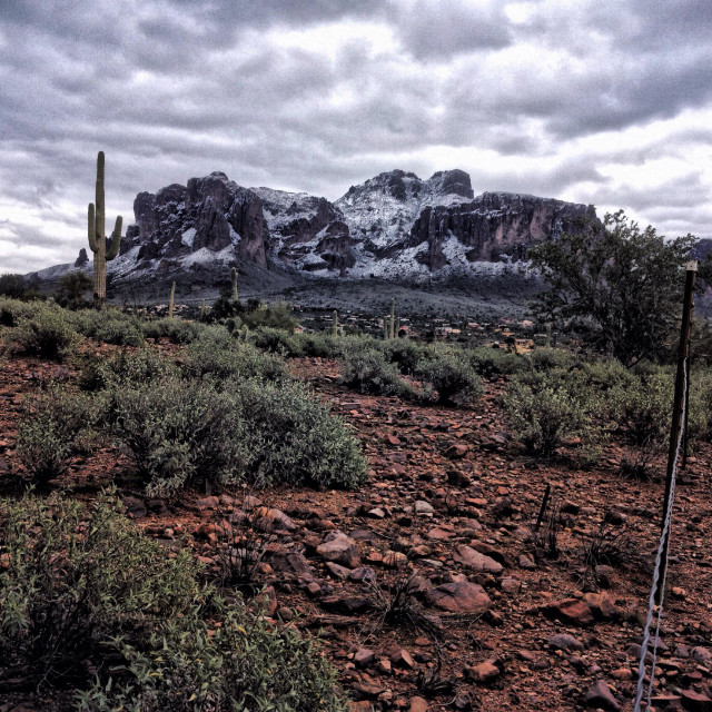 """""""Superstition Mountains with snow"""" stock image"""