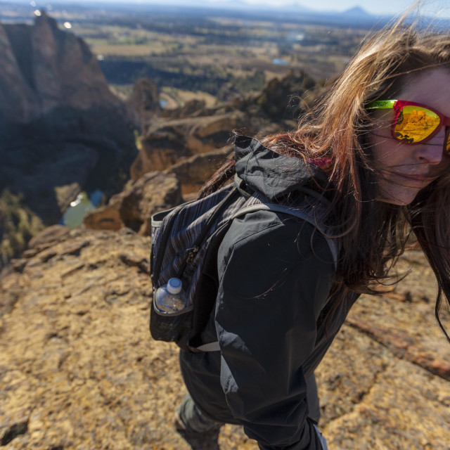 """""""Hiking at Smith Rock State Park"""" stock image"""