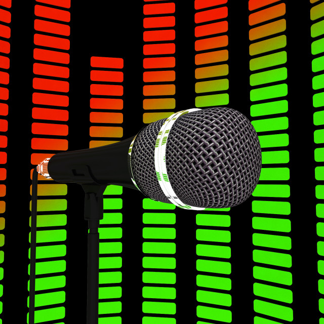 """""""Graphic Equalizer And Microphone Shows Pop Music Soundtrack Or Concert"""" stock image"""