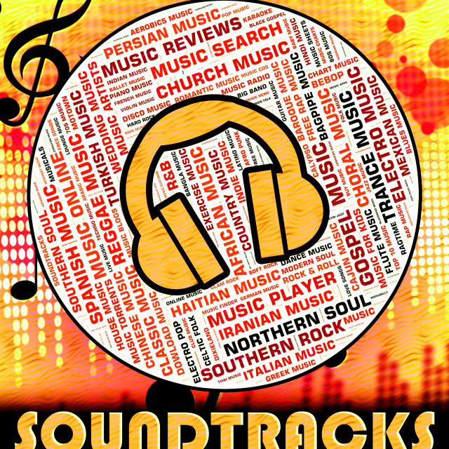 """""""Soundtracks Music Means Motion Picture And Book"""" stock image"""