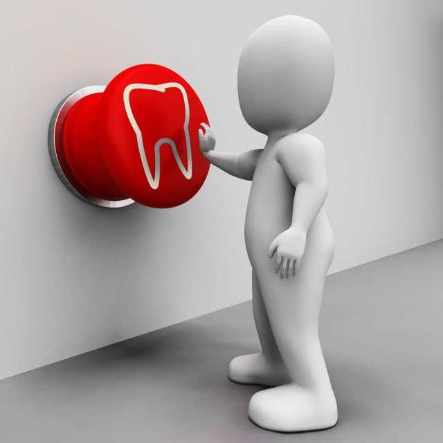 """Tooth Button Means Oral Health Or Dentist Appointment"" stock image"
