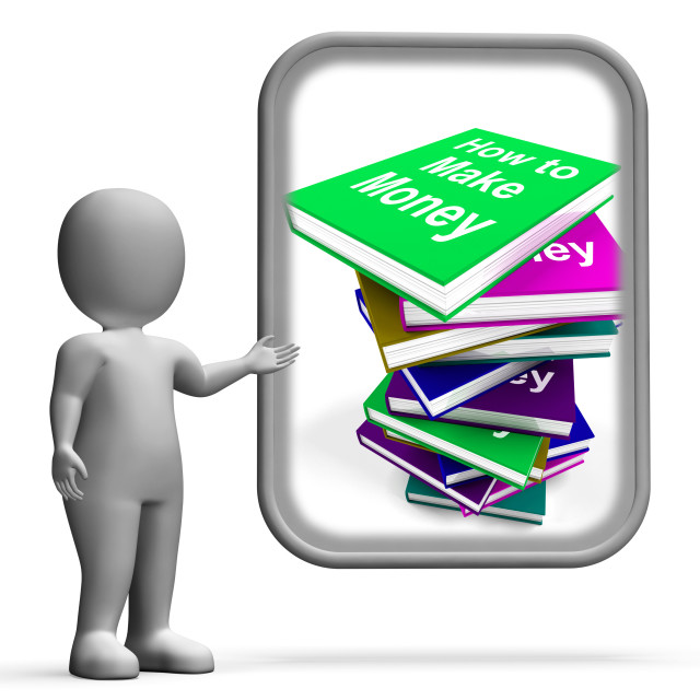 """""""How To Make Money Book Stack Displays Earn Cash"""" stock image"""