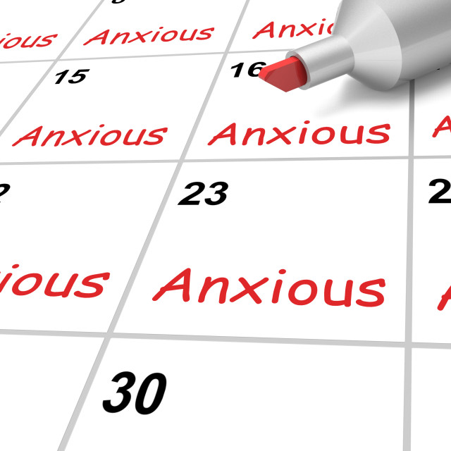 """Anxious Calendar Shows Worried Fearful And Concerned"" stock image"