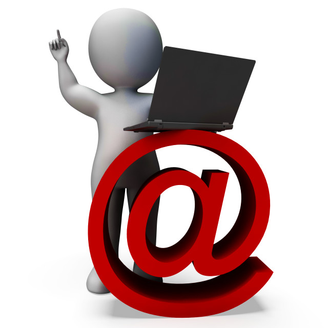 """""""Email Sign And Laptop Shows Correspondence"""" stock image"""