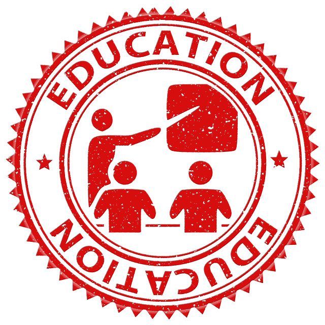 """Education Stamp Shows Study Educate And Print"" stock image"