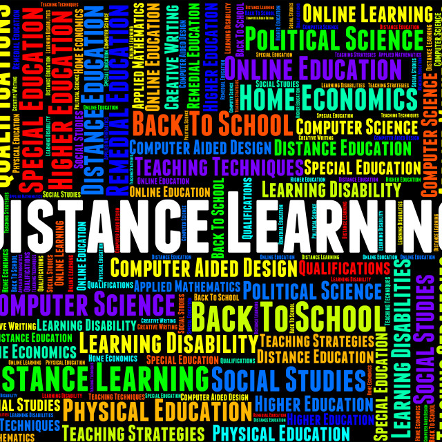 """""""Distance Learning Words Represents Correspondence Course And Development"""" stock image"""