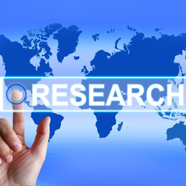 """""""Research Map Represents Internet Researcher or Experimental Analyzing"""" stock image"""