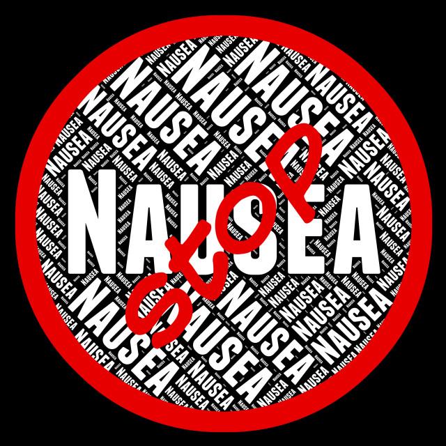 """Stop Nausea Indicates Travel Sickness And Gagging"" stock image"