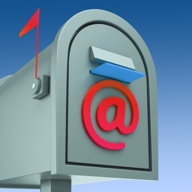 """""""E-mail Postbox Shows Sending And Receiving Mail"""" stock image"""